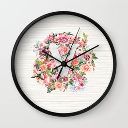 Initial Letter V Watercolor Flower Wall Clock