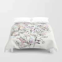 allyson johnson Duvet Covers featuring Follow your heart by Luca Johnson by Lucinda Saunders Design