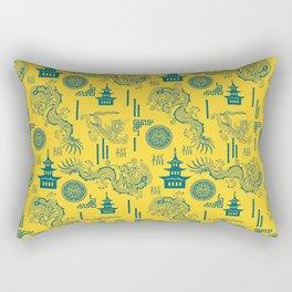 Yellow and Blue Chinoiserie Rectangular Pillow