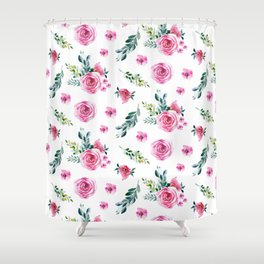 Blush pink green watercolor modern floral pattern Shower Curtain