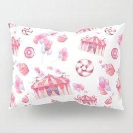 Girly pink teal festive watercolor cupcake funfair Pillow Sham