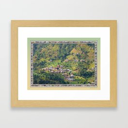 TERRACED HIMALAYAN FOOTHILLS VILLAGE IN NEPAL Framed Art Print
