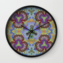 Passion Petals Retro Groovy Kaleidescope Psychedelica Print Wall Clock