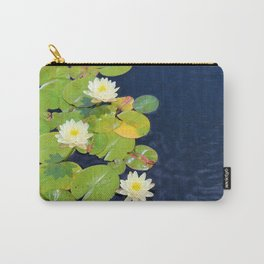 White Lotus Flowers on Lily Pads Carry-All Pouch
