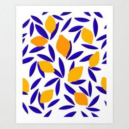 Blue and yellow Lemon Summery Pattern Art Print