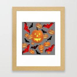 GREY HALLOWEEN JACK O'LANTERNS & BATS Framed Art Print