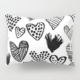 Hearts black and white hand drawn minimal love valentines day pattern gifts decor Pillow Sham