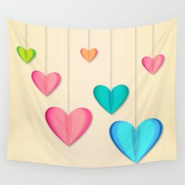 Hangin Hearts Wall Tapestry