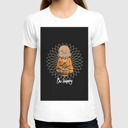Be Happy Little Buddha Black T-shirt
