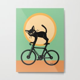 Cat loves a bike Metal Print