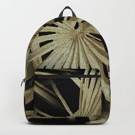 Brown On Black Tropical Vibes Beach Palmtree Vector Backpack