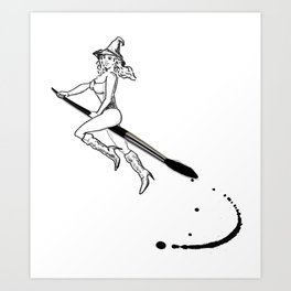broom and brush witchcraft Art Print