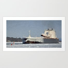 St. Clair Freighter in Neebish Channel Art Print