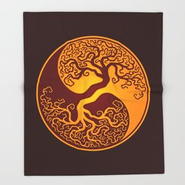 Red and Yellow Tree of Life Yin Yang Throw Blanket