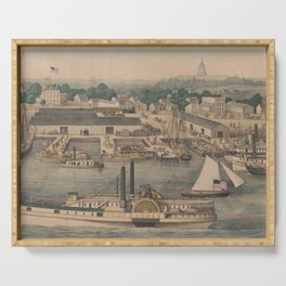 Vintage Pictorial Map of The 6th Street Wharf - Washington DC Serving Tray