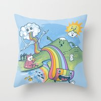 pasta Throw Pillows featuring Rainbow Pasta by Ian Byers