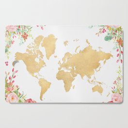 Bohemian world map with watercolor flowers Cutting Board