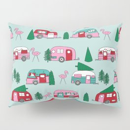 Camper vacation christmas road trip tropical home away from home pattern Pillow Sham