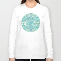 bedding Long Sleeve T-shirts featuring Botanical Geometry - nature pattern in blue, mint green & cream by micklyn