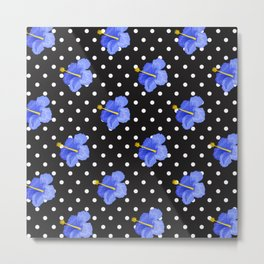 Blue hibiscus with black and white dots Metal Print