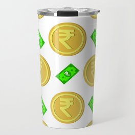 Rupee pattern background. Travel Mug