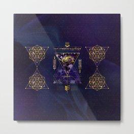 Sacred Geometry All Seeing eye in gold and amethyst Metal Print