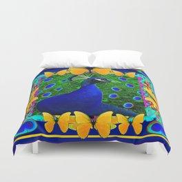 Decorative Blue Peacock & Yellow Butterflies Art Duvet Cover