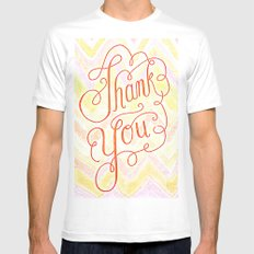 Thank you - hand lettered on chevron Mens Fitted Tee White MEDIUM