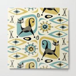 Mid Century Cat Abstract - Gld/Blu ©studioxtine Metal Print