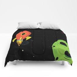 Orange Rocket Ship Comforters