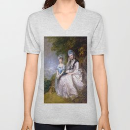 "Thomas Gainsborough ""Hester, Countess of Sussex, and Her Daughter, Lady Barbara Yelverton"" Unisex V-Neck"