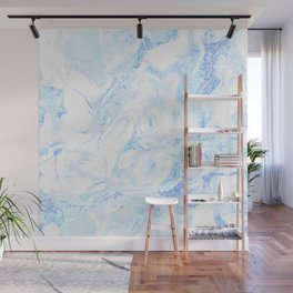 White Marble with Pastel Blue Purple Teal Glitter Wall Mural