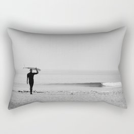Surf Photography Print, Malibu California, Surf Art, Surf Decor, Black and White Print, Wall Art Rectangular Pillow