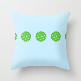 Pickleballs in a row. Green and Blue Throw Pillow