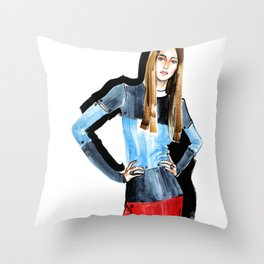 Fashion #16. Long-haired girl in fashionable dress-transformer Throw Pillow