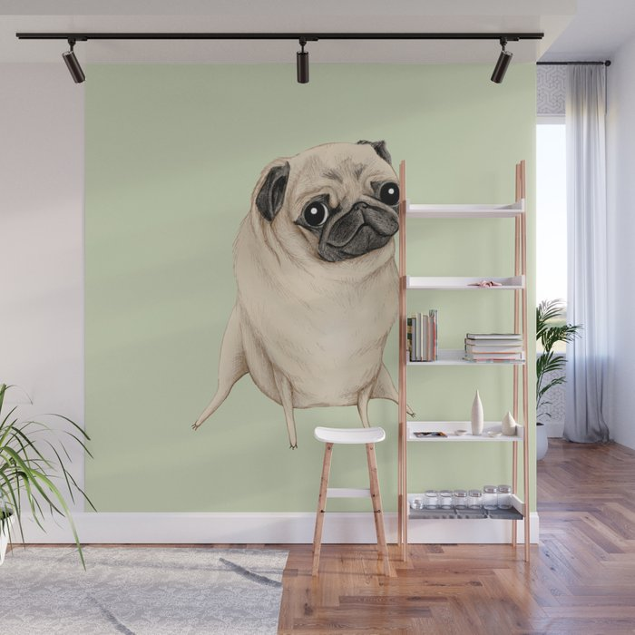 Sweet Fawn Pug Wall Mural