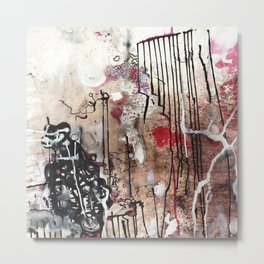 Original art print - abstract mixed media: sumi ink, acrylic, oil painting - 'Jax yard' Metal Print