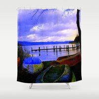boats Shower Curtains featuring Boats by Esther Soendergaard