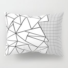 Abstraction Outline Grid on Side White Pillow Sham