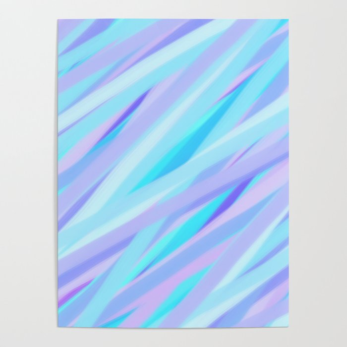 Pastel Pink Purple And Light Blue Stripes Poster