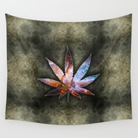 marijuana Wall Tapestries featuring Marijuana Leaf - Design 2 by Spooky Dooky