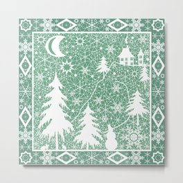 Lace Christmas pattern Metal Print