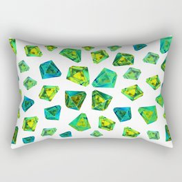 Green beautiful hand drawn gems. Rectangular Pillow