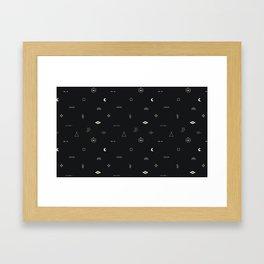 Southwestern Symbolic Pattern in Black & Cream Framed Art Print