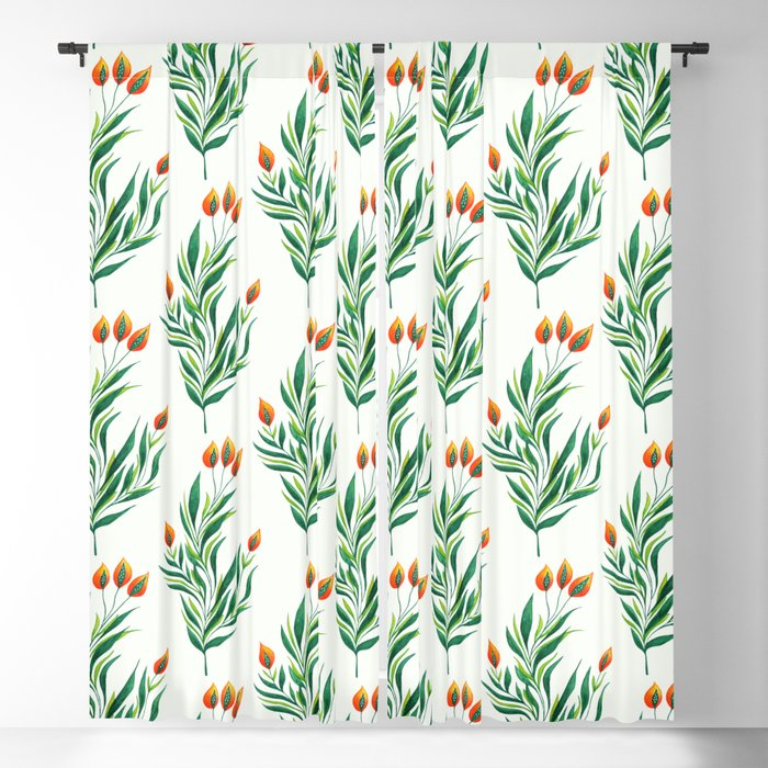 Abstract Green Plant With Orange Buds Blackout Curtain
