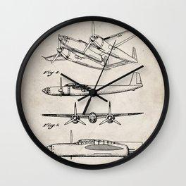 Hughes Lockheed Airplane Patent - Hughes Aviation Art - Antique Wall Clock