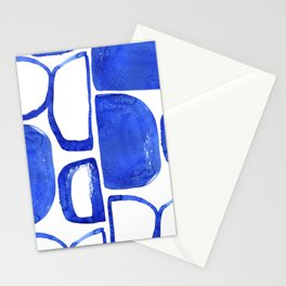 Abstract Half Circle Shapes In Classic Blue Stationery Cards