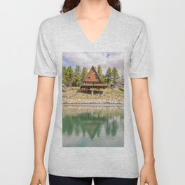 Lake in the high mountains near an alpine chalet Unisex V-Neck