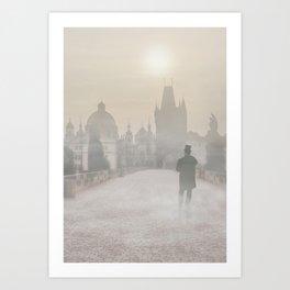 Prague in the morning fog Art Print