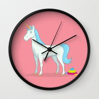 poop Wall Clocks featuring Unicorn Poop by See Mike Draw